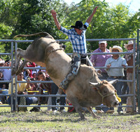 This rider is Chonta rode this bull and was not thrown off.